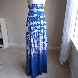 Lularoe Dipped Maxi skirt-blue tyedye small